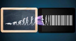 Evolution of man into a barcode illustration