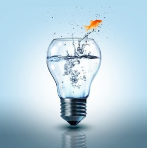 Illustration of a lightbulb as a fishtank with the fish jumping out