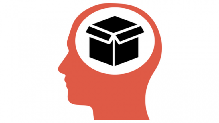 Illustration of a head with a box icon inside it