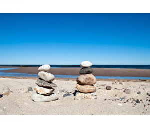 Two stacks of rocks at the beach