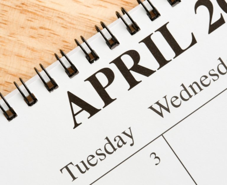 Close up of calendar focused on April 3rd Tuesday