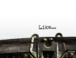 Close up of a typewriter with the word like...