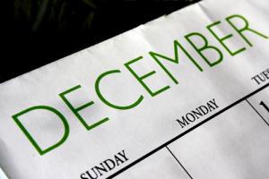 Photo of a calendar showing the month of December