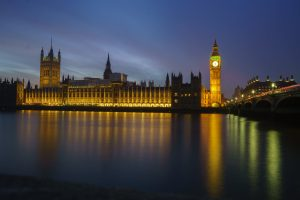 Night View of the houses of parliament
