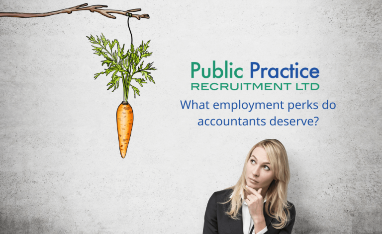 Lady looking at carrot being dangled in front of her - text asks what perks do employers deserve?