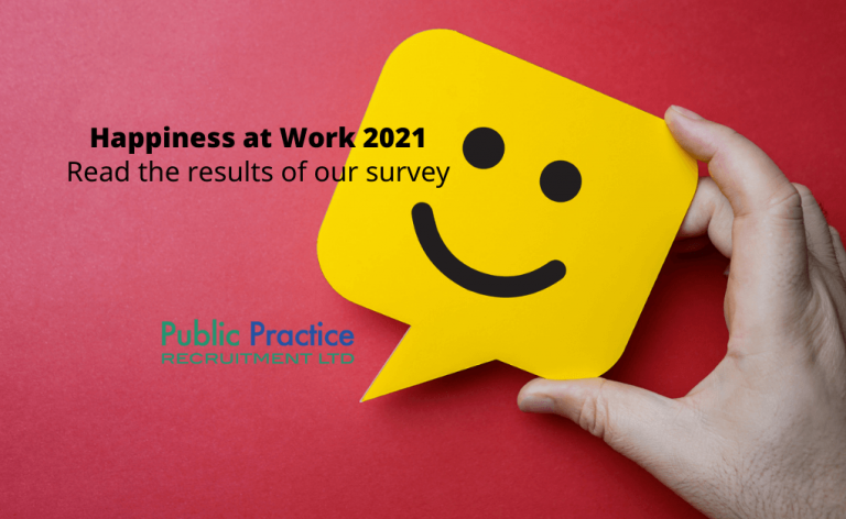 Happy face on a post it note saying Happiness at Work Survey 2021