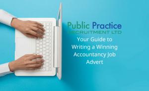 hands typing a job advert on a laptop