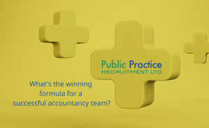 yellow graphic with plus sigs on and text saying What's the winning formula for a successful accountancy recruiter