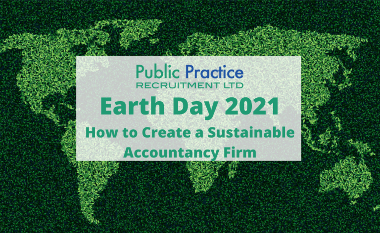 green map of the earth with Earth Day 2021 in green font - How to Create a Sustainable Accountancy Firm