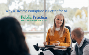 Diverse team in the workplace including lady in a wheelchair.